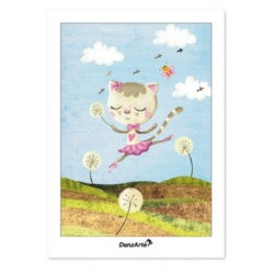 "Carte postale ""Dancing Cat On Meadow"""