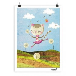 """Affiche """"Dancing Cat On Meadow"""""""