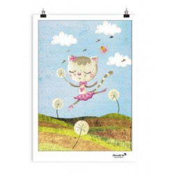 "Affiche A3 ""Dancing Cat On Meadow"""